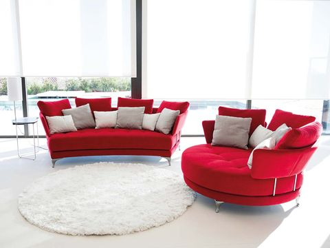 Furniture, Living room, Couch, Red, Chair, Room, Interior design, studio couch, Sofa bed, Loveseat,