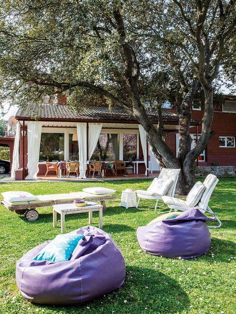 Bean bag, Purple, House, Home, Outdoor furniture, Outdoor table, Yard, Garden, Shade, Lawn,