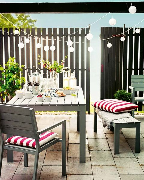 Furniture, Room, Interior design, Outdoor furniture, Home, Rectangle, Home fencing, Outdoor table, Design, Peach,