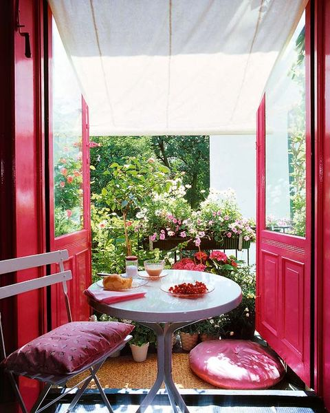 Table, Red, Furniture, Interior design, Outdoor table, Glass, Fixture, Outdoor furniture, Magenta, Chair,