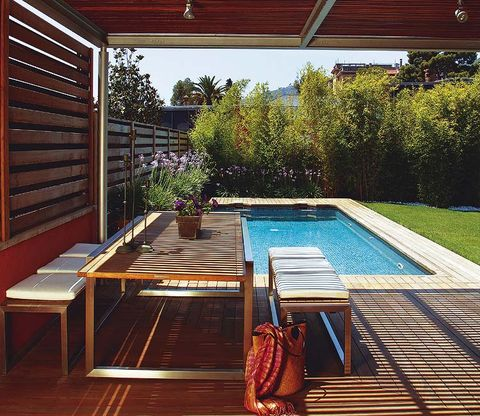 Wood, Swimming pool, Property, Hardwood, Real estate, Wood stain, Flooring, Majorelle blue, Shade, Rectangle,