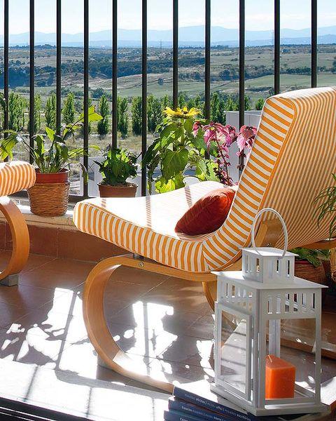 Orange, Flowerpot, Outdoor furniture, Iron, Peach, Houseplant, Patio, Armrest, Resort, Balcony,