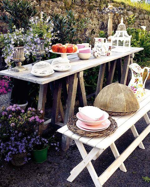 Serveware, Furniture, Table, Dishware, Flowerpot, Outdoor furniture, Outdoor table, Linens, Lavender, Peach,