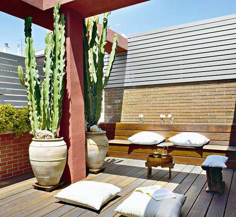 Flowerpot, Shade, Brick, Outdoor furniture, Hardwood, Outdoor table, Brickwork, Linens, Backyard, Patio,