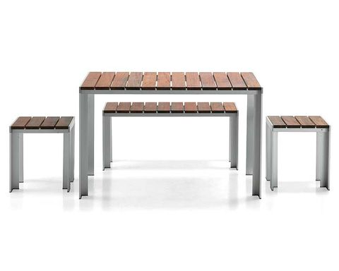 Wood, Table, Line, Rectangle, Grey, Hardwood, Composite material, Outdoor furniture, Metal, Outdoor table,