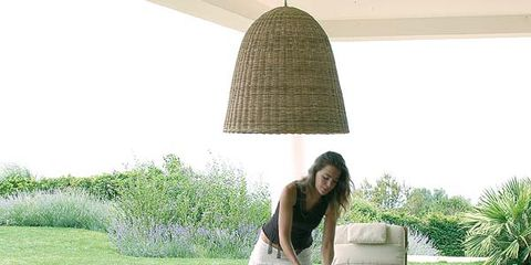 Human body, Lampshade, Furniture, Table, Outdoor furniture, Sitting, Chair, Outdoor table, Lamp, Light fixture,