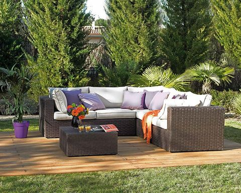 Couch, Living room, Outdoor sofa, Lavender, Home, studio couch, Outdoor furniture, Rectangle, Coffee table, Garden,