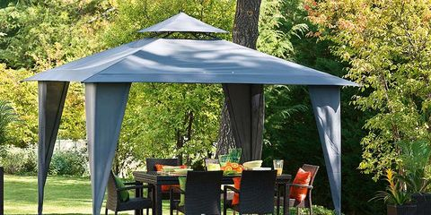 Swimming pool, Outdoor table, Gazebo, Outdoor furniture, Shade, Garden, Pavilion, Rectangle, Park, Landscaping,