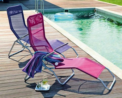 Swimming pool, Furniture, Magenta, Chair, Purple, Composite material, Outdoor furniture, Sunlounger, Tile, Water feature,