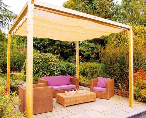 Furniture, Outdoor furniture, Couch, Outdoor sofa, Shade, Garden, Hardwood, Rectangle, Patio, Wicker,