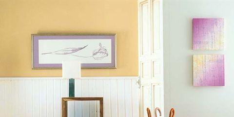 Wood, Room, Interior design, Wall, Interior design, Paint, Picture frame, Hardwood, Linens, Peach,