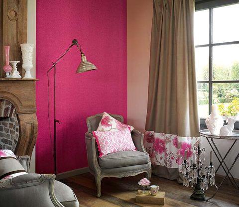 Room, Interior design, Textile, Home, Wall, Furniture, Floor, Living room, Pink, Interior design,