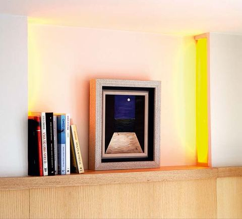 Room, Interior design, Wall, Paint, Colorfulness, Orange, Rectangle, Majorelle blue, Interior design, Still life photography,