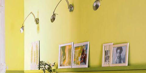 Yellow, Interior design, Wall, Floor, Flooring, Ceiling, Light fixture, Interior design, Paint, Picture frame,