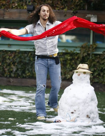 Snowman, Human, Winter, Jeans, Denim, Shirt, People in nature, Snow, Waist, Playing in the snow,