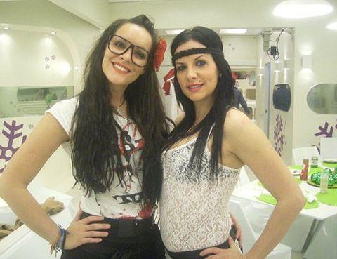 Arm, Glasses, Smile, Friendship, Youth, Black hair, Waist, Long hair, Sleeveless shirt, Belt,