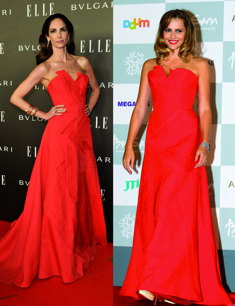 Clothing, Human, Dress, Shoulder, Red, Flooring, Formal wear, One-piece garment, Style, Gown,