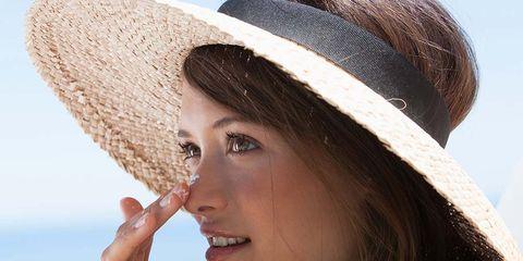 Clothing, Hat, Skin, Beauty, Lip, Sun hat, Fashion accessory, Headgear, Summer, Photo shoot,