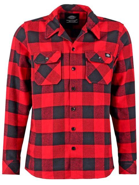 Plaid, Clothing, Pattern, Sleeve, Red, Tartan, Outerwear, Button, Shirt, Design,
