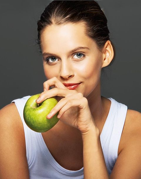 Face, Skin, Beauty, Lip, Neck, Fruit, Biting, Natural foods, Food, Plant,