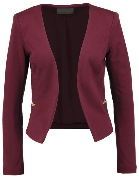 Coat, Collar, Sleeve, Textile, Red, Outerwear, Magenta, Blazer, Maroon, Pattern,