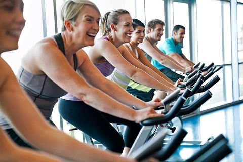 Exercise machine, Gym, Exercise equipment, Fitness professional, Indoor cycling, Physical fitness, Treadmill, Leisure, Exercise, Room,