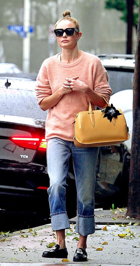 Street fashion, Birkin bag, Shoulder, Yellow, Clothing, Eyewear, Sunglasses, Fashion, Kelly bag, Jeans,