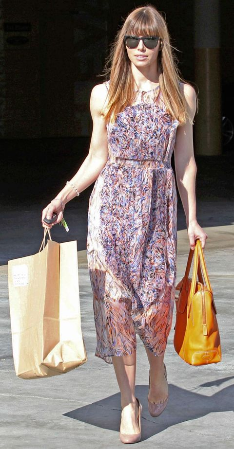 Clothing, Yellow, Shoulder, Bag, Joint, Dress, Style, Summer, Street fashion, One-piece garment,