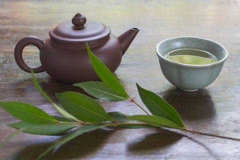 Teapot, Green tea, Serveware, Tableware, Leaf, Tea, Cup, Chinese herb tea, Dishware, Drink,