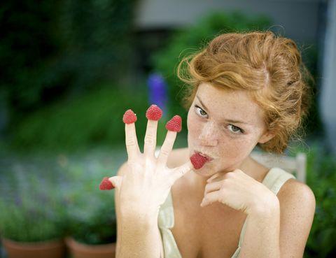 Finger, Lip, Nail, People in nature, Eyelash, Wrist, Blond, Thumb, Cosmetics, Brown hair,