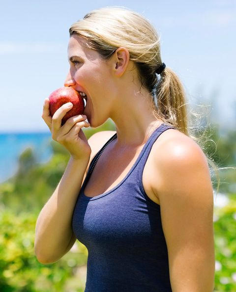Sleeveless shirt, Summer, Active tank, Eating, Undershirt, Fruit, Blond, Food craving, Produce, Natural foods,
