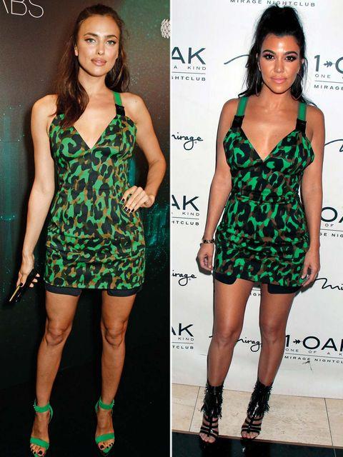 Clothing, Footwear, Green, Dress, Shoulder, Joint, Pattern, Human leg, Style, Fashion model,