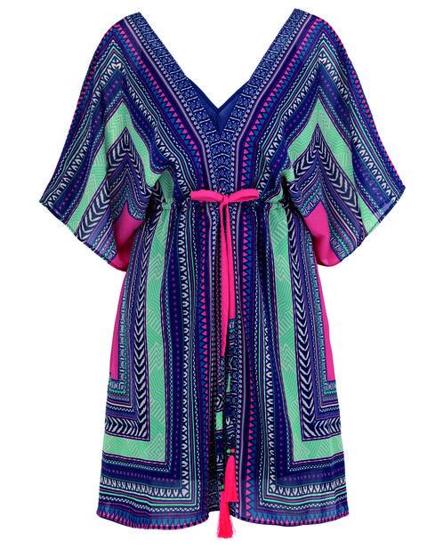 Sleeve, Pattern, Textile, Dress, Collar, Style, Teal, Fashion, One-piece garment, Aqua,