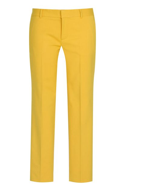 Clothing, Brown, Yellow, Trousers, Textile, Standing, Joint, Denim, Human leg, Orange,