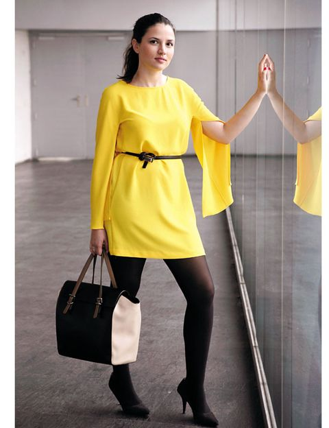 Product, Yellow, Sleeve, Shoulder, Human leg, Joint, Standing, Bag, Style, Dress,