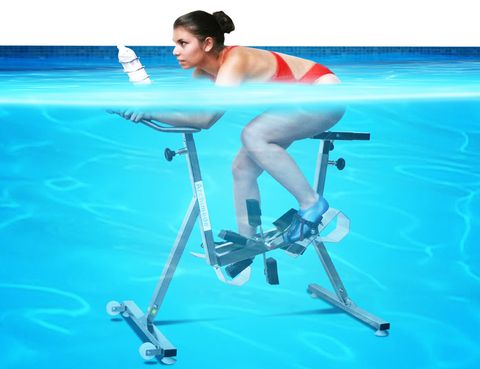 Human leg, Leisure, Swimming pool, Elbow, Knee, Aqua, Bicycle frame, Foot, Chest, Ankle,