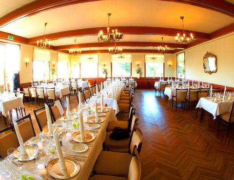 Lighting, Furniture, Restaurant, Ceiling, Chair, Dishware, Drinkware, Function hall, Hall, Light fixture,