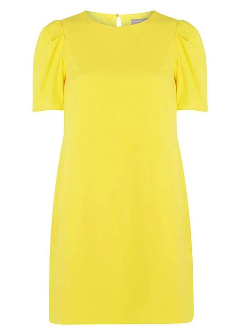 Clothing, Yellow, T-shirt, Sleeve, Day dress, Dress, Neck, Orange, Cocktail dress, Top,