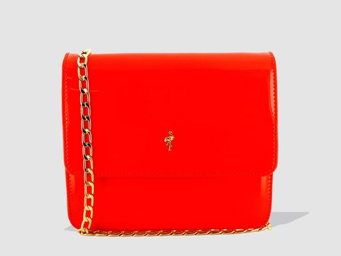 Red, Wallet, Fashion accessory, Orange, Coin purse, Rectangle, Material property, Handbag, Leather, Bag,