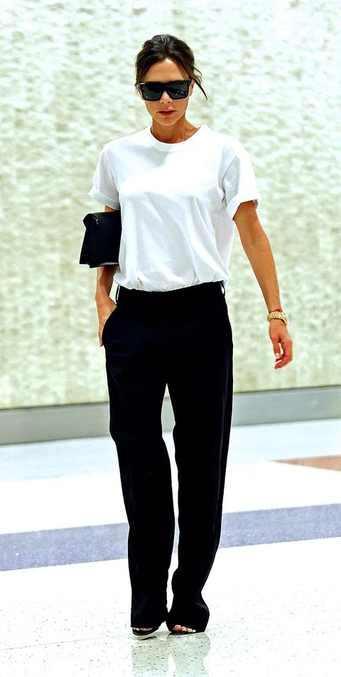 White, Clothing, Fashion model, Black, Fashion, Street fashion, Shoulder, Eyewear, T-shirt, Neck,