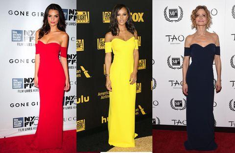 Clothing, Dress, Yellow, Flooring, Shoulder, Formal wear, Style, Waist, Carpet, Premiere,