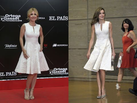 Fashion model, Clothing, Dress, White, Fashion, Cocktail dress, Red carpet, Carpet, Footwear, Flooring,