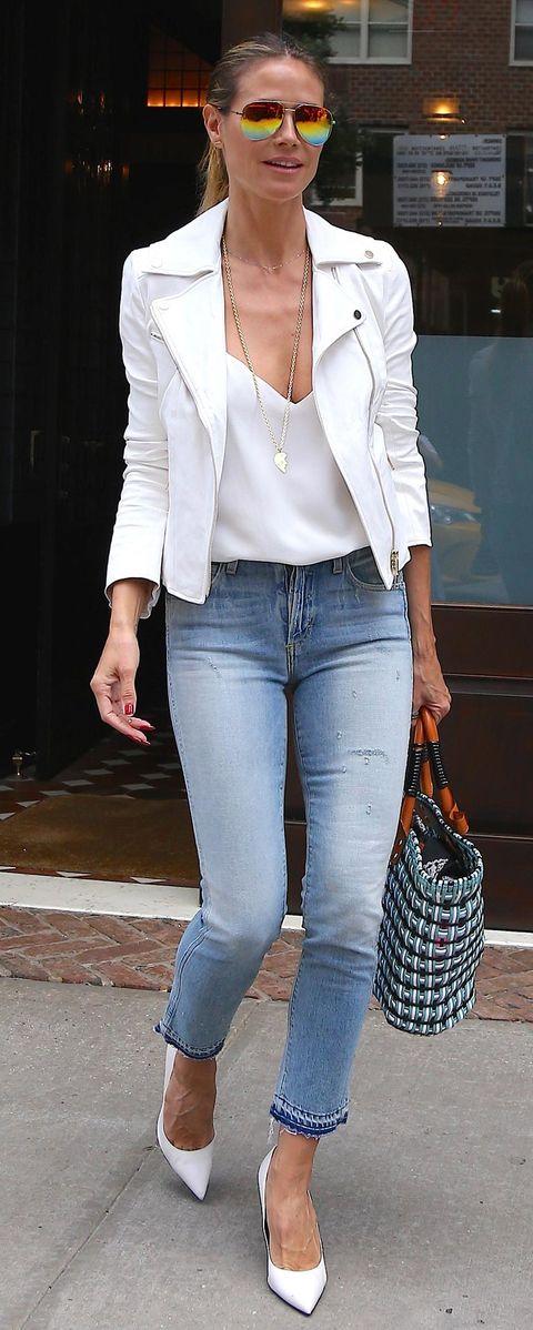 Clothing, Jeans, White, Outerwear, Blazer, Denim, Jacket, Footwear, Snapshot, Street fashion,