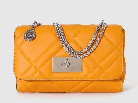 Handbag, Bag, Yellow, Shoulder bag, Fashion accessory, Orange, Chain, Font, Material property, Brand,