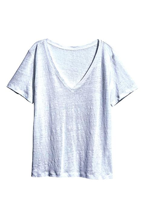 Clothing, White, T-shirt, Sleeve, Top, Neck, Crop top, Blouse, Outerwear,