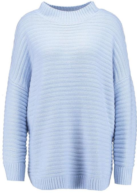 Blue, Product, Sweater, Sleeve, Textile, Outerwear, White, Wool, Woolen, Electric blue,