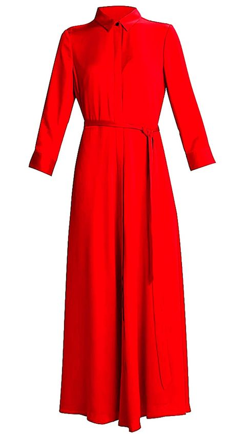 Clothing, Day dress, Red, Dress, Sleeve, Robe, Outerwear, Collar, Cocktail dress, Gown,