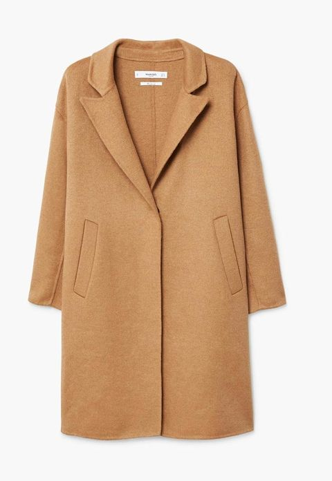 Clothing, Coat, Outerwear, Overcoat, Tan, Sleeve, Beige, Brown, Trench coat, Collar,