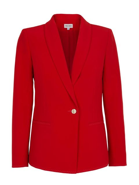 Clothing, Coat, Product, Collar, Sleeve, Red, Textile, Outerwear, White, Blazer,