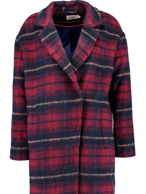 Clothing, Product, Pattern, Collar, Sleeve, Plaid, Red, Coat, Textile, Outerwear,